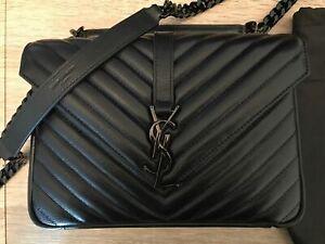 YSL YVES Saint Laurent 100% Authentic College Monogram medium Bag black