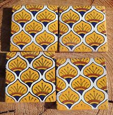 "20~MEXICAN TALAVERA POTTERY 2"" clay hand made painted Yellow Peacock Tiles Tile"