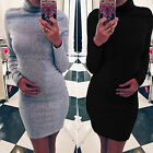 Womens Turtle Neck Sweater Jumper Tops Long Sleeve Stretched Bodycon Tunic Dress
