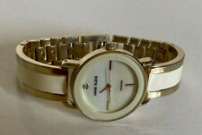 NEW! ANNE KLEIN AK GENUINE DIAMOND IVORY WHITE ENAMEL GOLD BANGLE WATCH $85 SALE