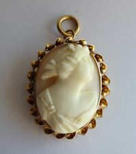 Antique 14K YELLOW GOLD Victorian Angel Skin Carved Coral Cameo Brooch Pendant