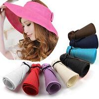 EG_ Women Summer Wide Brim Roll Up Foldable Sun Beach Straw Braid Visor Sun Hat