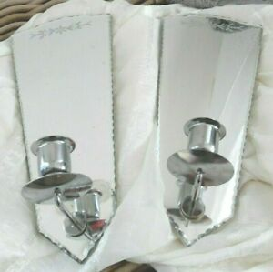 PAIR SET SIMPLY SHABBY CHIC ETCHED FLOWERS MIRROR CANDLE HOLDER SCONCE