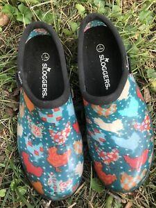 Women's SLOGGERS Blue Chicken Print Size 7 Rain Garden Shoes Made in USA