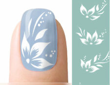 Nagel Sticker Nail Art Tattoo Fingernagel Nagelsticker Aufkleber Blumen Weiß