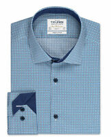 T.M.Lewin Mens  Slim Fit Blue and Navy Thatched Link Print Button Cuff Shirt