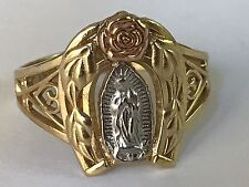 14k Gold Ring Virgin Mary Guadalupe Rose White Yellow 8 5 6 7 9 10 11