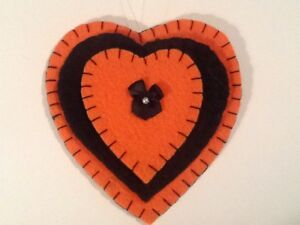 Heart ornaments for halloween tree decorating, black and orange