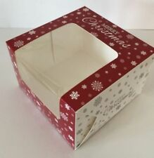 "Pack of 4 CHRISTMAS CAKE BOXES 6 x 6 x 4 "" inch FESTIVE Square with clear Window"