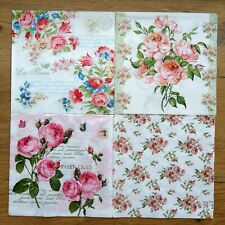 "Lot of 4 choice Paper Napkin For Decoupage set 33 x 33sm 13""x 13"" flowers Crafts"