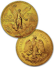Random Date Mexico 1.2057 Troy Ounce AGW Gold 50 Pesos Coin SKU30890