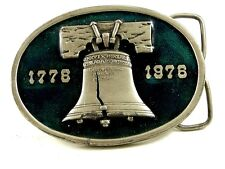 1776 - 1976 Bergamont Liberty Bell Green Enameled Belt Buckle 11042013