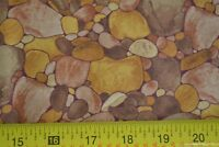 By 1/2 Yd, Gold & Brown Stones on Quilting Cotton, Artistic Expressions, N368