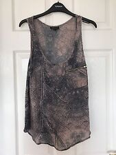 Topshop Brown Blue Grey Snake Print Top - Size 6 Brand New