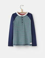 Joules Boys Saunders Long Raglan Sleeved Top Tee French Navy Green Striped 9-10 Years