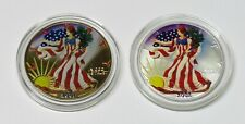 2001 & 2002 Colorized Silver American Eagles in Plastic Capsules