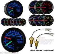 GlowShift Black 7 Color Dual Air Intake Fahrenheit Temperature Gauge GS-C720