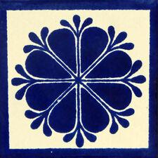 "Handmade Mexican Tile Sample Talavera Clay 4"" x 4"" Tile C059"