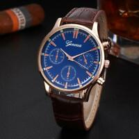 New Mens Gents Retro Design Classic Leather Band Analog Alloy Quartz Wrist Watch