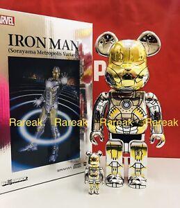Medicom Bearbrick Sorayama Metropolis Variant Ironman 400% & 100% Be@rbrick 2G