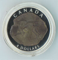 2007 Canada Fine Silver $4 Parasaurolophus Dinosaur Fossil Proof Coin NO TAX