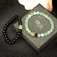 2Pcs/Set Distance Couple Bracelets CZ Crown Onyx Moonstone Stone Bracelets Gifts