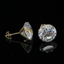 14K Yellow Gold Over Round Cut Push back Stud Earrings 1.69Ct Created Diamond