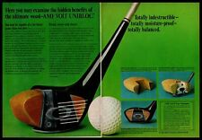 1967 AMF Voit Unibloc Armatex Wood Head Golf Clubs 2-Page Vintage Print Ad