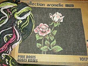 Collection Aronelle Pink Roses Needlepoint Kit 1017 Midcentury Quebec