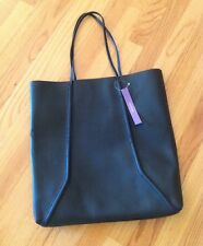 BLOOMINGDALES Loyalists-BLACK-with-BLUE-interior-FAUX-LEATHER TOTE Large New TAG