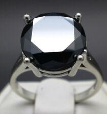 7.34cts 12.95mm Real Natural Black Diamond Ring AAA Grade & $3870 Value