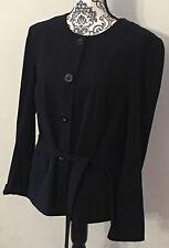 Venus Sz 14 Black Belted Button Front Poly Viscose Elastane Blazer Jacket