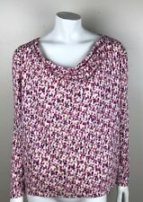 Liz Claiborne Long Sleeve Top Blouse Pink Purple White Size XLarge