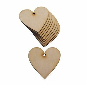 Wooden Heart Craft Shapes 10 x 80mm Wooden Heart Craft Shapes With Hanging Hole