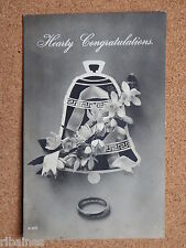 R&L Postcard: Greetings, Wedding Ring Anniversary, Floral Bell