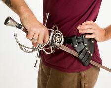 Rapier  Dagger Small Sword Holder Hanger Frog Black Leather LARP Reenactors NEW!