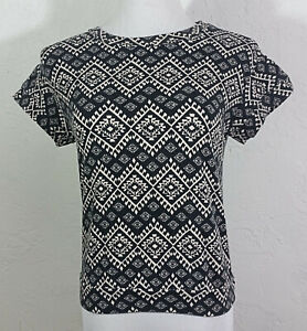 Forever 21 Juniors Top Small Geometric Multicolor Scoop Neck Cap Sleeve Cropped