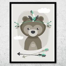 Bild Kunstdruck A4 Tribal Bär mint Kinderzimmer Deko Geschenk