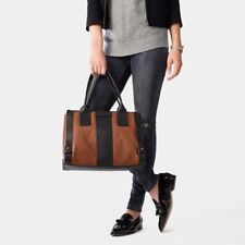 NWT Authentic$240 Fossil Gwen Colorblock Leather Tote Satchel Black Brown ZB6995