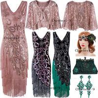 1920s Flapper Dress Vintage Great Gatsby Costumes V-Neck Christmas Dresses XS-XL
