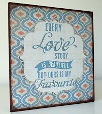 Metal Tin Retro Wall Sign Plaque Love Story Distressed Rustic Effect Wall Sign