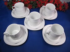Mikasa Fine China CAVIAR L5806 Flat Cups & Saucers Set Japan Set Of 5