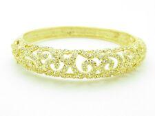 18KT YELLOW GOLD SILVER DIAMOND SET WHITE SAPPHIRE VINTAGE CUFF BANGLE BRACELET