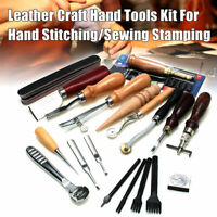 1Set Vintage Leather Craft Kit Stitching Sewing Beveler Punch Working Hand Tools