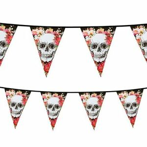 DAY OF THE DEAD PLASTIC OUTDOOR BUNTING - Floral Skull Halloween Decoration - 6m