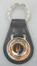 Vintage STUDEBAKER HAWK Black Leather #44A8 Gold tone Key ring 1956 1957 1958