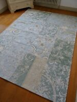 "WOOL blend RUG shabby FRENCH chic PATCHWORK floral toile 94.5"" x 67"" IMMACULATE"
