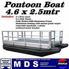 4.6 x 2.5m PONTOON BOAT BBQ WORK PARTY PLATFORM BARGE POLY OUTBOARD BRACKET
