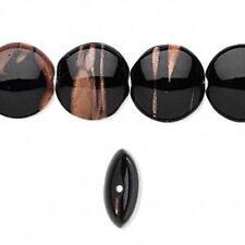 5744 Glass Coin Beads Black Gold 14mm PK8 *UK EBAY SHOP*