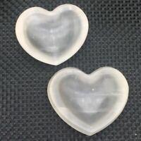 Natural Gypsum Selenite Quartz Carved Heart-shaped Ashtray Decoration 1Pc